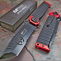 Mtech Ballistic Red Sawback Tanto Skull Assisted Opening Knife New!!