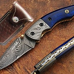 Commodore Pocket Knife Damascus Steel Blade