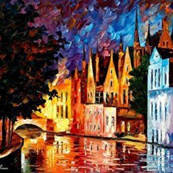Palette Knife Painting,Unframed High Quality Modern Artwork With Bruges, Nothern Venice On Canvas 30 X 24 In