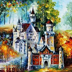 Magical Castle Palette Knife Oil Painting On Canvas Wall Art Deco Home Decoration 20X15In 50X37.5Cm Unframed