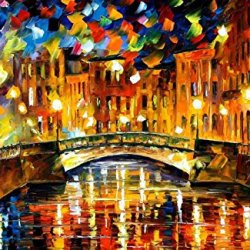 Palette Knife Canvas For Home Decoration,Bridge Over Happiness Wall Art 36 X 24 In Unframed