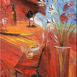 Palette Knife Fine Art Painting On Canvas,Modern Wall Art Evening 9X12 In/22.5X30Cm Unframed