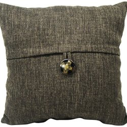Newport Layton Home Fashions Key Largo Fine Knife Edge Polyester Filled Pillow With Button Accent, 20-Inch, Fine Chocolate
