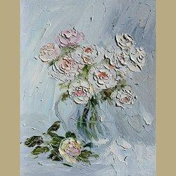 Palette Knife Roses 12X15 In/30X37.5Cm Art Living Room Wall Decor Oil Painting On Canvas Modern Art Unframed