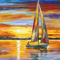 On The Boat Art Wall Decorative Canvas Knife Paintng On Canvas 30X36In/75X90Cm Unframed