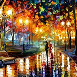 Leonid Afremov Rain'S Rustle Palette Knife Handmade Art Oil Painting On Canvas, 40 By 24-Inch/100 By 60Cm