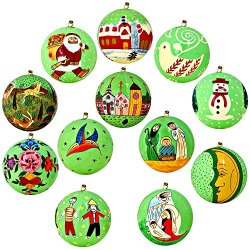 Set Of 12 Bright Green Paper Mache Valentine Ornaments Handmade In Kashmir, India, 3 Inches