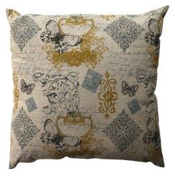 "23"" Blue Butterfly Fleur Di Lis Decorative Floor Pillow"