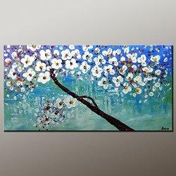 Palette Knife Fine Art Painting On Canvas,Modern Wall Art Landscape Tree 10X20 In/25X50Cm Unframed