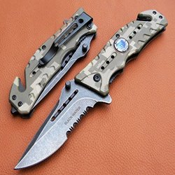 """8"""" Black Water Collection Spring Assisted Rescue P/ Knife Camoflauge 7350"""