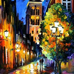100% Diy Oil Painting,Unframed High Quality Oil Painting Knife Oil Painting With The Lights Of The Old Town On Canvas 36 X 30 In 90 X 75 Cm