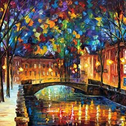Modern Art Canva City Bridge Painting Knife Painting Wall Art Canvas Unframed Painting 40 X 30 In 100 X 75 Cm