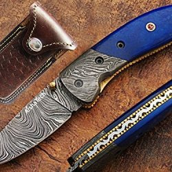 Hunters Pocket Knife Damascus Steel Blade (Available In Black And Bone Handle Only)