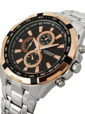 Exclusive Curren Fashion Rose Golden Luxury Sport Analog Quartz Steel Mens Watch by KBL Limited