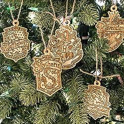 Ornament - Hogwarts Set of 5 - Raw Wood 4x3in