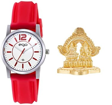 Maxima Ego Analog White Dial Women's Watch + Laxmi ganesh idol + Greeting Card