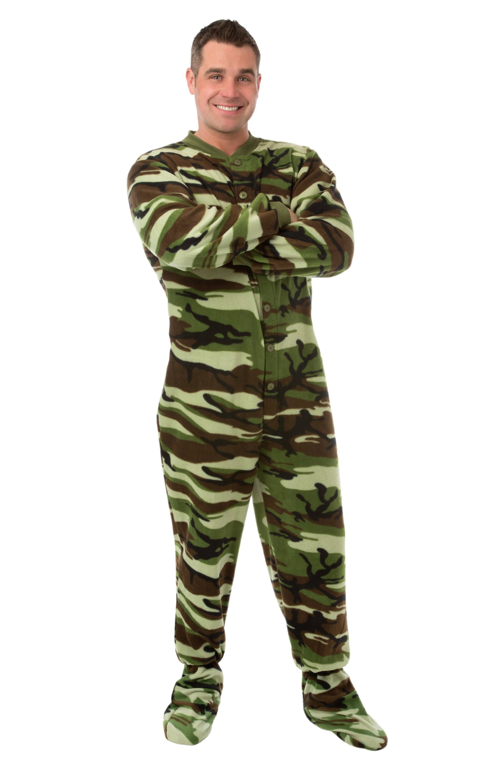 Pjs green camo micro polar fleece adult footed pajamas with drop seat