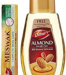 Dabur Almond Hair Oil, 200ml with Free Dabur Meswak Toothpaste