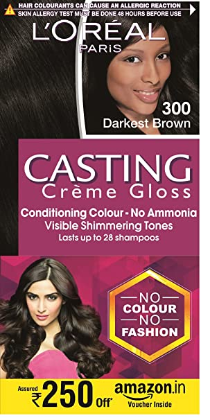 L'Oreal Casting Creme Gloss, Darkest Brown 300, With Free Amazon Voucher Worth Rs 250