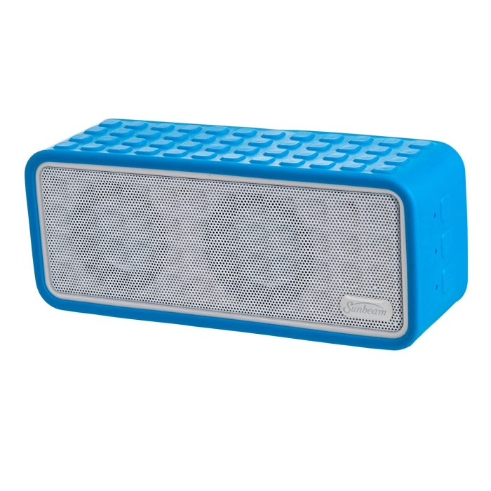 Sunbeam Rechargeable Bluetooth Conference Speaker A great little rechargeable bluetooth speaker – versatile for conference calls or taking to the campfire to provide fire dancing music for Cherie!