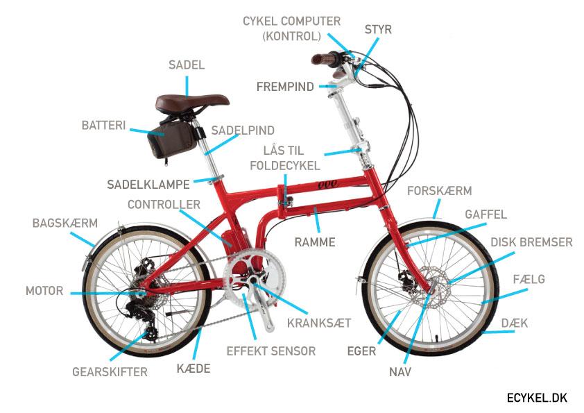 dele på en elcykel