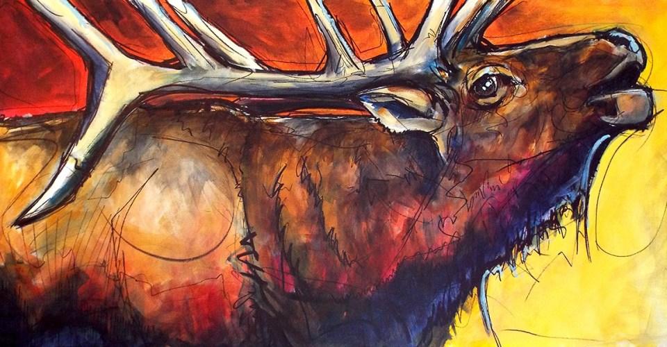 Bugling Elk Ed Anderson Art