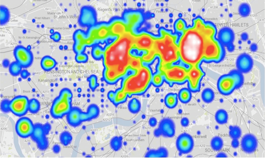 Heat map showing pedestrian density in Kensington and Chelsea