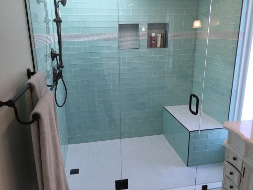 Side-by-Side Vanities & Glass Tile Bathroom Remodel – Los Feliz