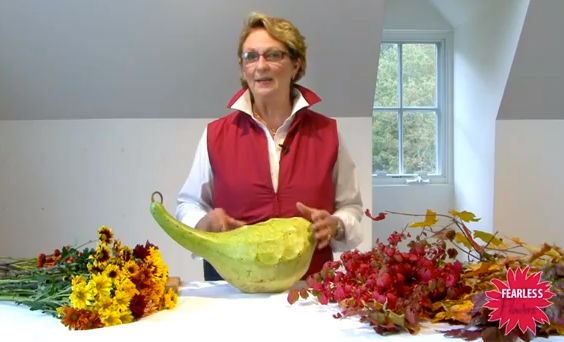 Annie_of_Fearless_Flowers creates a Thanksgiving table centerpiece using gourds and flowers