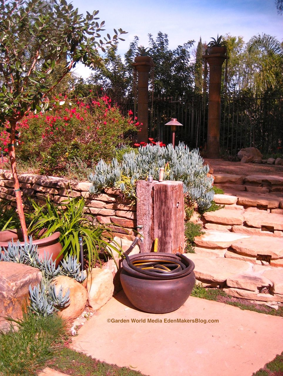 Planter Used As Water Hose Storage