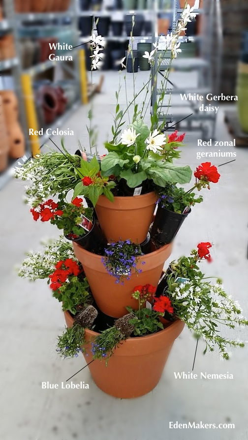 red-geraniums-red-celosia-blue-lobelia-white-nemesia-gerbera-daisy-gaura-in-terra-cotta-stacked-planter-shirley-bovshow