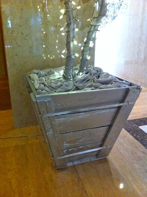 Close up of silver tree box