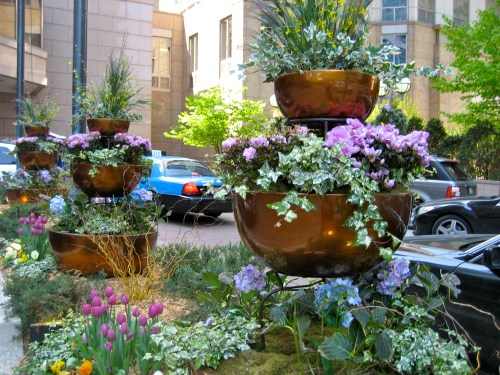 Copper container garden vignette