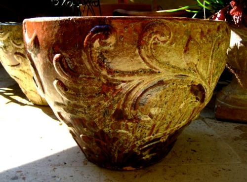 red glazed ceramic garden pot