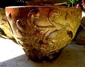 red glazed ceramic garden pot