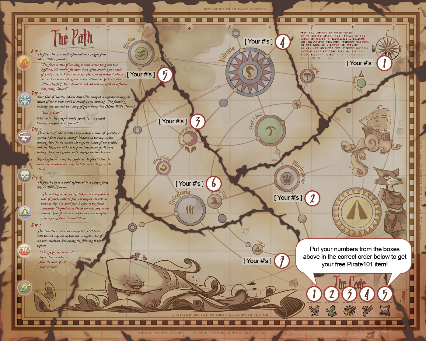 Treasure Map Answers   Pirate101 Free Online Game Click the image below to view a high rez version of how to reveal the  secret code on your map