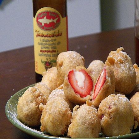 Deep-Fried Cheesecake Stuffed with Strawberries