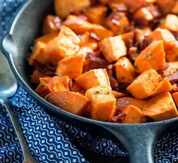 maple bacon roasted sweet potatoes