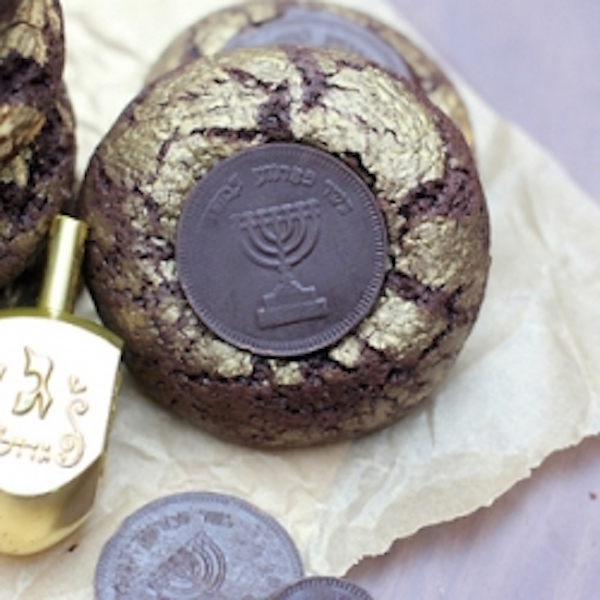 chocolate olive oil crinkle gelt cookies