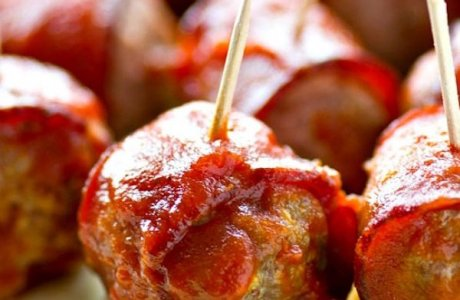 Crock Pot BBQ Bacon-Wrapped Turkey Meatballs