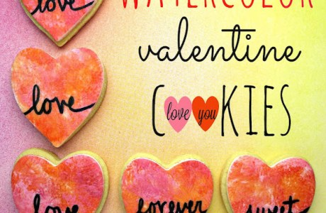 Watercolor Valentine Cookies