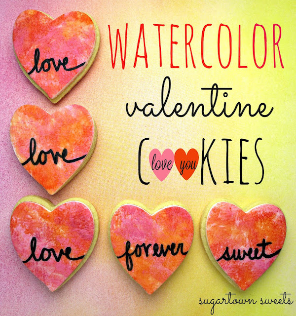 watercolor valentine cookies heart cookies