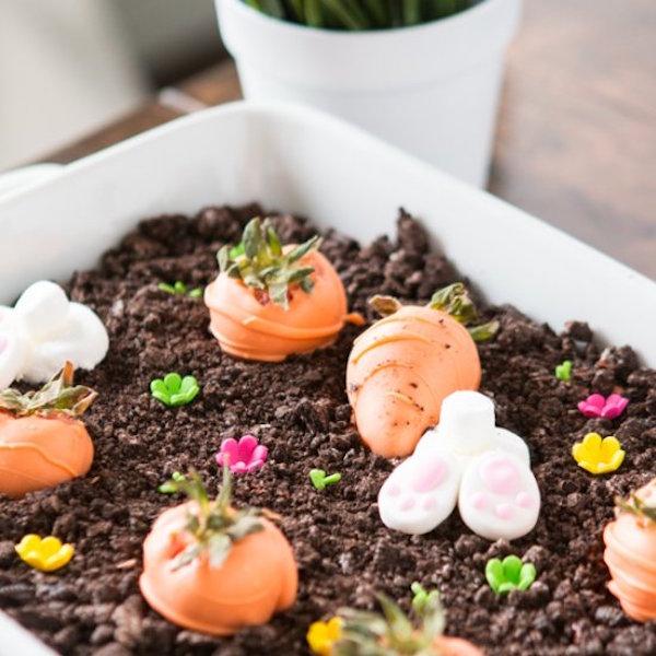 no bake chocolate oreo bunny garden dessert