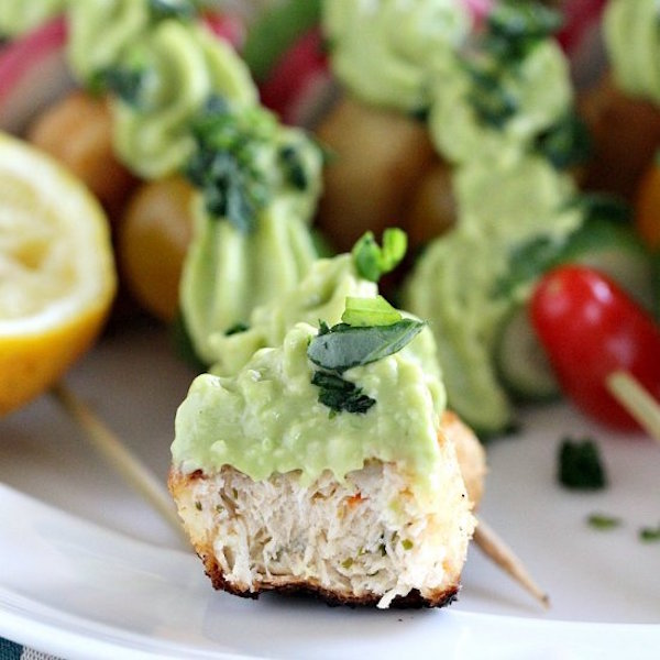 vegan crab cake veggie skewers