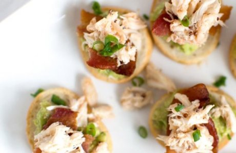 Crab, Bacon, Guacamole Crostinis