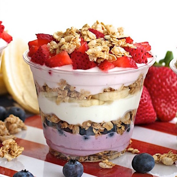 patriotic breakfast parfaits