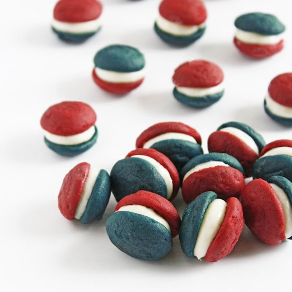 red, white, and blue velvet mini whoopie pies