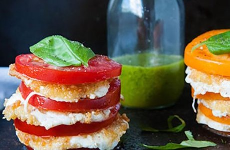 Fried Mozzarella Caprese Salad
