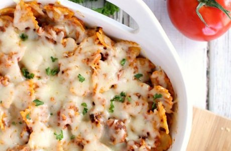 Cheesy Bowtie Pasta and Sausage Bake