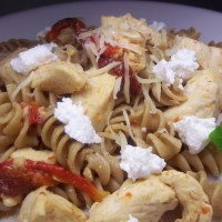 Chicken Rotini with Roasted Red Peppers and Goat Cheese